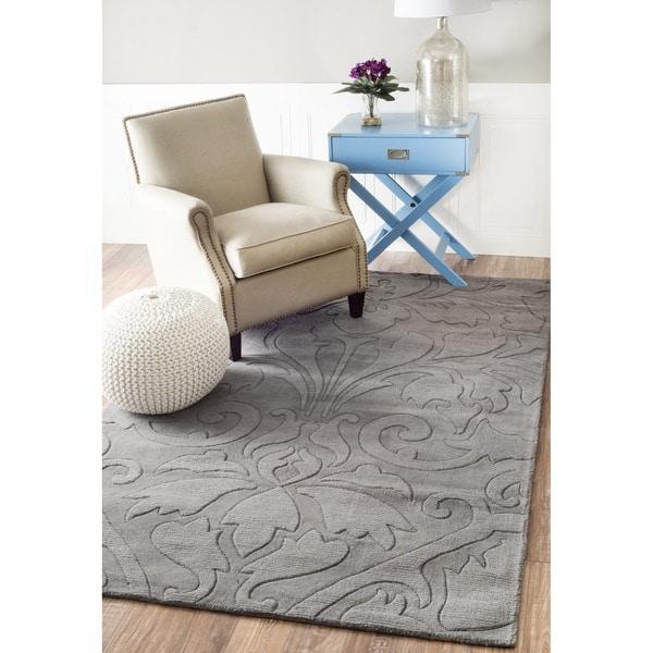 nuLOOM Handmade Neutrals and Textures Damask Grey Wool Rug (8' x 11')