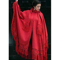 Handmade 'Red Sunrise Elegance' Alpaca Wool Poncho and Scarf (Peru)