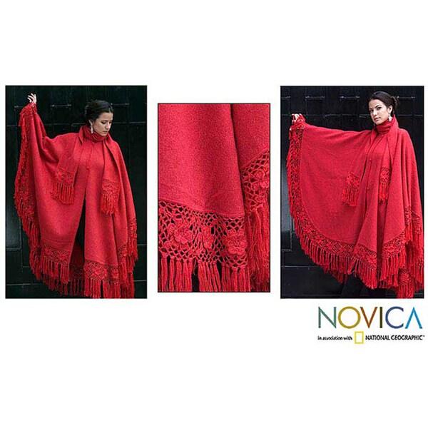 'Red Sunrise Elegance' Alpaca Wool Poncho and Scarf (Peru)