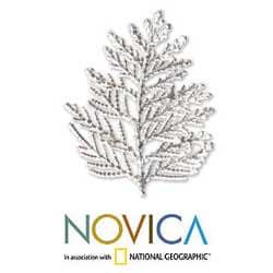 Handmade Silverplated 'Cypress Honor' Natural Leaf Brooch Pendant (Thailand) - Thumbnail 1