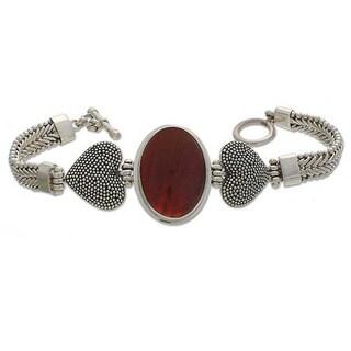 Handmade Sterling Silver 'True Love' Carnelian Heart Bracelet (Indonesia)