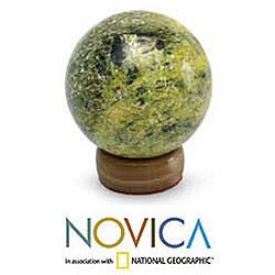Serpentine 'Living Planet' Sphere Sculpture , Handmade in Peru