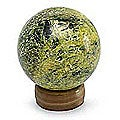Serpentine 'Living Planet' Sphere Sculpture  , Handmade in Peru