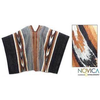 Road To Huancayo Traditional Cape Men's Women's White Black Brown Gray Artisan Handmade Genuine 100% Alpaca Wool Poncho (Peru)