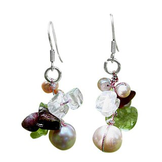 Handmade Sterling Silver 'Rosy Dawn' Gemstone Cluster Earrings (Thailand)