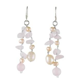 Handmade Silver 'Sweetheart' Pearl/ Quartz Waterfall Earrings (Thailand)