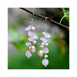 Silver 'Sweetheart' Pearl/ Quartz Waterfall Earrings (Thailand)