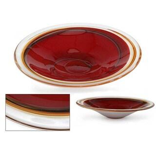 Murano Hand-blown Glass 'Scarlet Vortex' Centerpiece  , Handmade in Brazil
