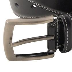 Boston Traveler Men's Topstitched Leather Belt with Brushed Nickel Hardware