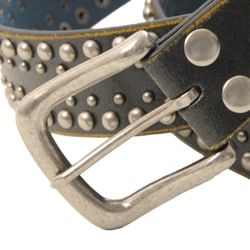 Journee Collection Women's Black Studded Leather Belt - Thumbnail 1