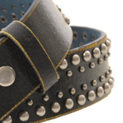 Journee Collection Women's Black Studded Leather Belt - Thumbnail 2