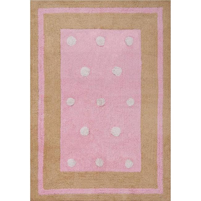 Shop Handmade Pink Border Cotton Rug 4 X 6 On Sale