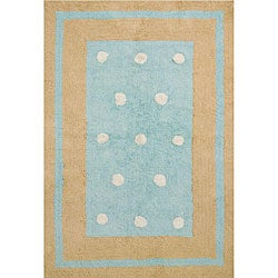 Handmade Blue Border Cotton Rug (4' x 6')