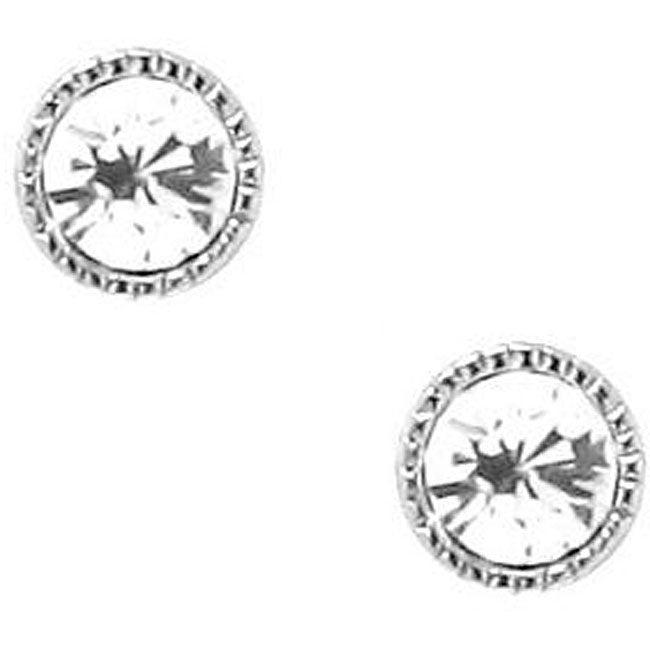 Sterling Silver White Crystal Stud Earrings