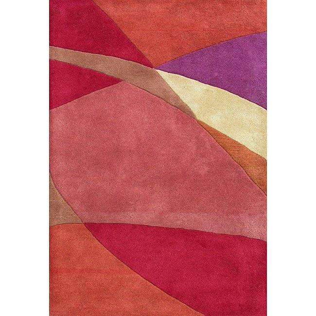 Hand-tufted Geo Metro Red/ Orange Wool Rug (8' x 10')