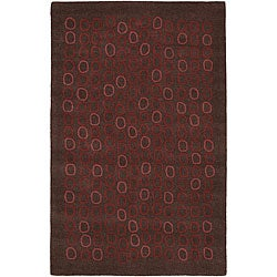Hand-tufted Arlon Brown Geometric Wool Area Rug - 9' x 13' - Thumbnail 0