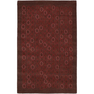 Hand-tufted Arlon Brown Geometric Wool Area Rug - 9' x 13'