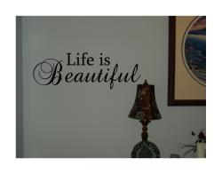 Design on Style 'Life is Beautiful' Black Vinyl Wall Art Quote - Thumbnail 1