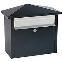 Black Wall- or Post-mount Mail House Mailbox
