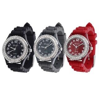 Geneva Platinum Cubic Zirconia Accented Silicone Watch