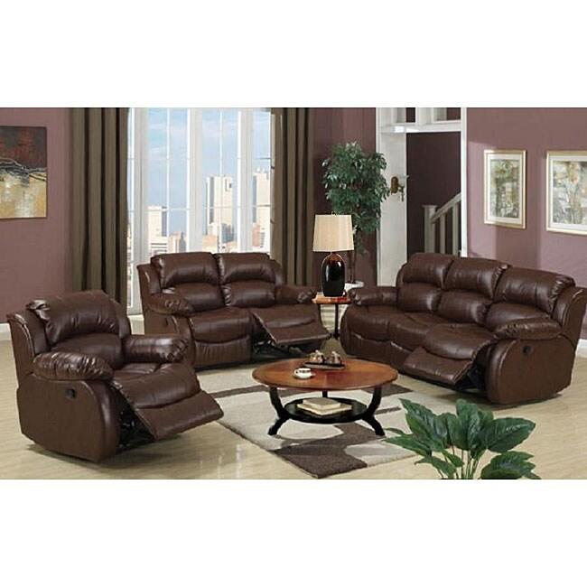 Malibu 8-piece Brown Bonded Leather/ Hardwood Living Room Set