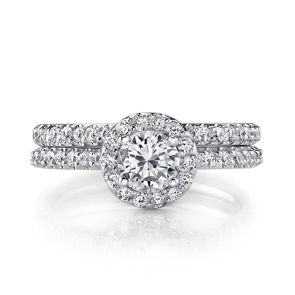 18k White Gold 1ct TDW Diamond Halo Bridal Ring Set