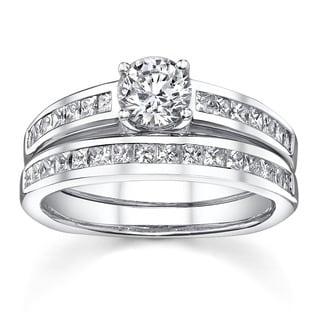 18k White Gold 1 1/3ct TDW Diamond Bridal Ring Set