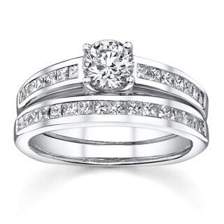 18k White Gold 1 1/3ct TDW Diamond Bridal Ring Set