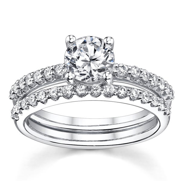 18k White Gold 1 1/2ct TDW Certified Round 2-Piece Diamond Bridal Set
