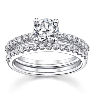 18k White Gold 1 1/2ct TDW Certified Round 2-Piece Diamond Bridal Set (H-I, SI1-SI2)