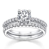 18k White Gold 1 1/2ct TDW Certified Round 2-Piece Diamond Bridal Set