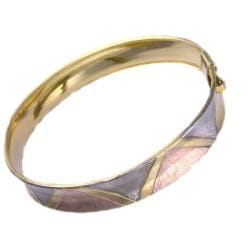 14K Goldplated Tricolor Flex Bangle Bracelet (Mexico)
