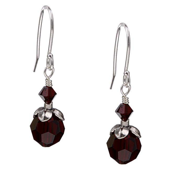 Lola's Jewelry Silver January Birthstone Dark Red Crystal Earrings - Thumbnail 0