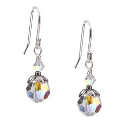 Lola's Jewelry Sterling Silver April Birthstone Clear Crystal Earrings