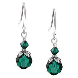 Lola's Jewelry Sterling Silver May Birthstone Green Crystal Earrings