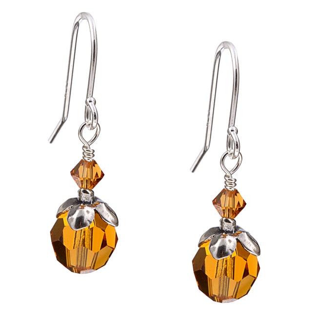 Lola's Jewelry Silver November Birthstone Amber Crystal Earrings