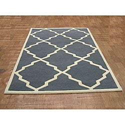 Alliyah Handmade Bluish-Grey New Zealand Blend Wool Rug (5' x 8') - Thumbnail 1