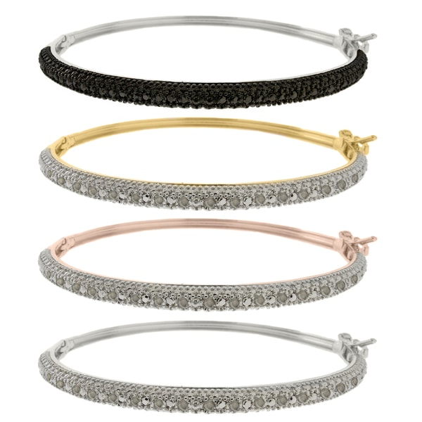 Finesque Sterling Silver 1/4ct TDW Black or White Diamond Bangle. Opens flyout.