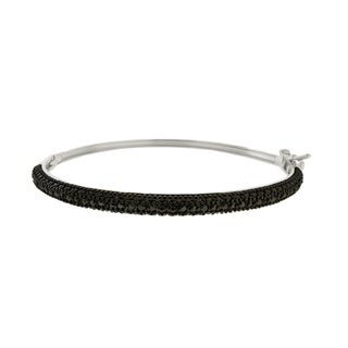 Finesque Sterling Silver 1/4ct TDW Diamond Bangle