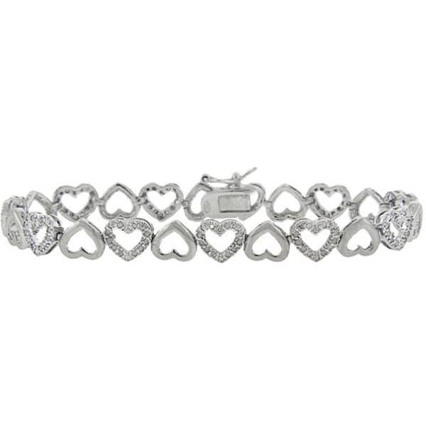 Finesque Sterling Silver 1/2ct Diamond Heart Link Bracelet