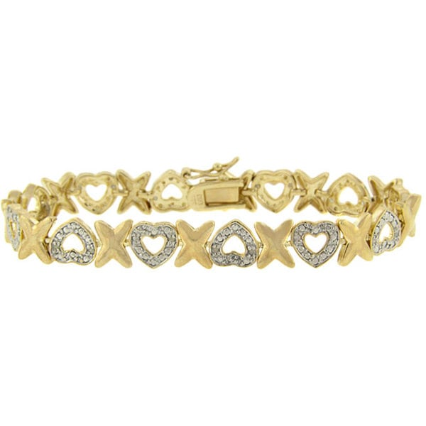 Finesque 18k Gold over Silver 1/2ct TDW Diamond Heart and 'X' Bracelet (J-K, I3)