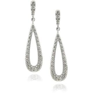 Finesque Sterling Silver 1/4ct TDW Diamond Teardrop Dangle Earrings (J-K, I3)