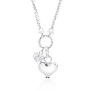 Finesque Sterling Silver 1/4ct TDW Diamond Double-heart Charm Necklace