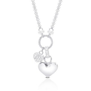 Finesque Sterling Silver 1/4ct TDW Diamond Double-heart Charm Necklace (3 options available)