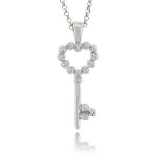 Finesque Sterling Silver Diamond Accent Heart Key Necklace (J-K, I3)