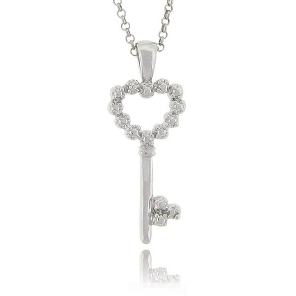 Finesque Sterling Silver Diamond Accent Heart Key Necklace (J-K, I3)