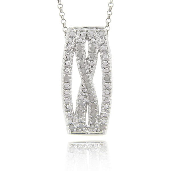 Finesque Sterling Silver 1/4ct TDW Diamond 'X' Design Necklace