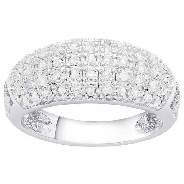 Finesque Sterling Silver 1/2ct TDW Diamond Fashion Ring (J-K, I3)