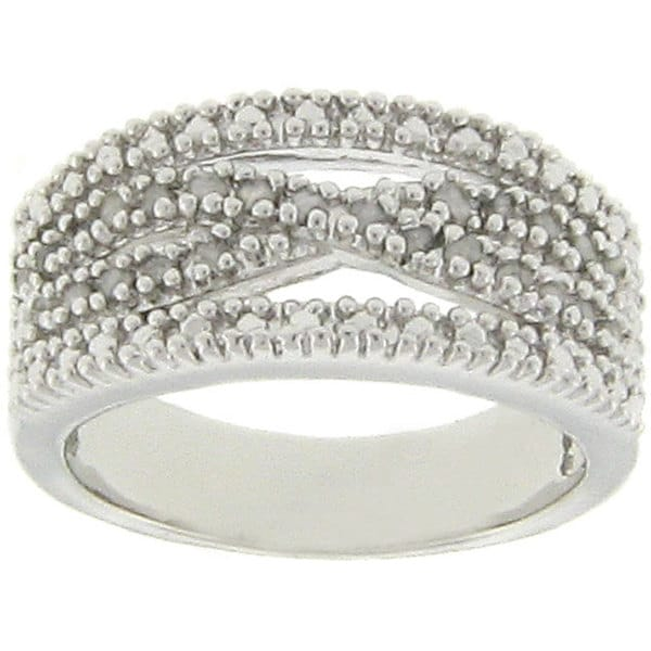 Finesque Sterling Silver 1/4ct TDW Diamond 'X' Design Ring (J-K, I3)