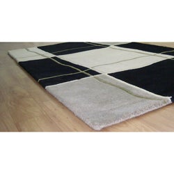 Alliyah Handmade Black/ Grey New Zealand Blend Wool Rug (8' x 10') - Thumbnail 1